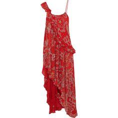 Ashish Asymmetric embellished silk-georgette dress (€2.505) ❤ liked on Polyvore featuring dresses, ashish, sequin embellished dress, red sequin cocktail dress, beaded cocktail dresses, sequin dress and embellished dress
