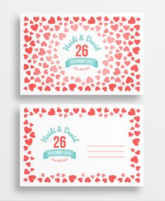 Ombre hearts printable save the date postcard