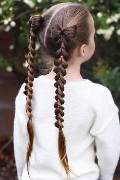 Double Pull Through Braid Pigtails � We all know that over time, your kiddo gets bored with those ponytails and braids she wears every day. Let us respect her sense of fashion and vary her styling routine. See more on our  gallery and finde more ideas for your little princess �