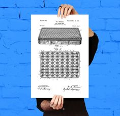 Box Spring Patent, Box Spring Poster, Box Spring Blueprint, Box Spring Print, Box Spring Art, Box Spring Decor by STANLEYprintHOUSE  3.00 USD  We use only top quality archival inks and heavyweight matte fine art papers and high end printers to produce a stunning quality print that's made to last.  Any of these posters will make a great affordable gift, or tie any room together.  Please choose between different sizes and col ..  https://www.etsy.com/ca/listing/473577140/box-spring-p..