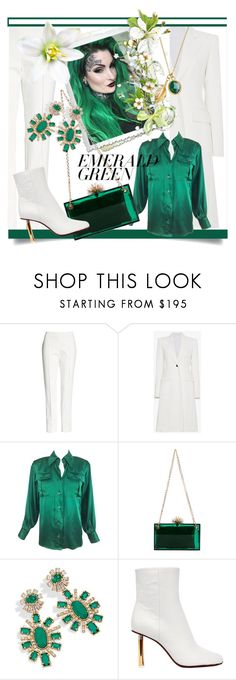 """""""Emerald City: Pops of Green"""" by kari-c ❤ liked on Polyvore featuring Akris, Calvin Klein 205W39NYC, Yves Saint Laurent, Charlotte Olympia, Kendra Scott, Vetements, Ottoman Hands and emeraldgreen"""