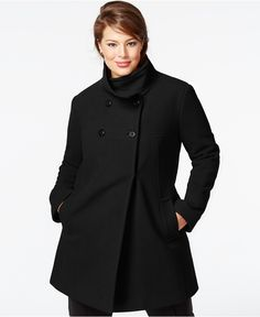 71bc9caa57b17 Larry Levine Plus Size Walker Coat & Reviews - Coats - Women - Macy's
