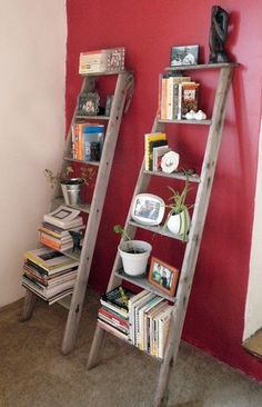 Very Cool Ideas: What to Repurpose for Your Shelves.   Use an old broken ladder; split the very top step and unhook the hinge.  See picture.  Neat idea.
