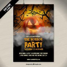 el horror cartel fiesta de halloween Vector Gratis