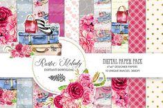 Watercolor Travel Paper, Seamless Patterns ,Traveling Planner Illustration ,Travel ,Floral Digital ,Paper Pack, Travel PaperPack,