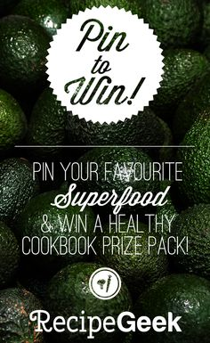 Enter to Win 4 Healthy Cookbooks in our Pin-It to Win-It Contest! Healthy Cook Books, Superfoods, Smoothie Recipes, Avocado, Packing, Feelings, Bag Packaging, Super Foods, Shake Recipes