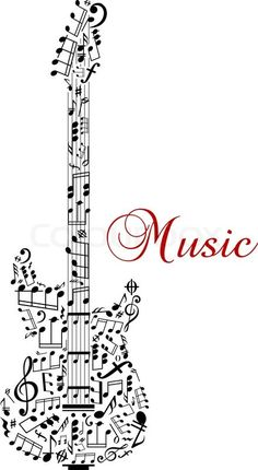 Guitar silhouette with musical notes and word - Music stock vector