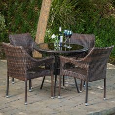 Mirage Outdoor 5-piece Wicker Dining Set by Christopher Knight Home (Grey), Patio Furniture