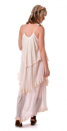 Tiered Cheesecloth Hippie Dress | Damsel Vintage - 70s Vintage Fashion