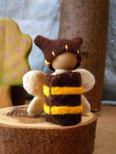 Waldorf Honey Bee Doll, Waldorf Gnome, Waldorf Peg Doll, Bee, Honey Bee, Bumblebee, yellow, brown, Summer