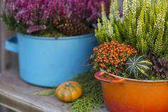 Colourful autumn decoration in old enamel pots