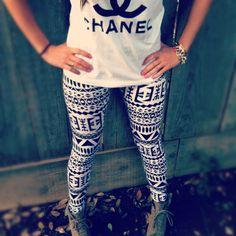 For a every day look. Chanel Shirt w/tribal leggings. ♡Great looks ♥Fashion Estilo Fashion, Teen Fashion, Winter Fashion, Fashion Outfits, Womens Fashion, Fashion Black, Fashion 2014, Tokyo Fashion, India Fashion