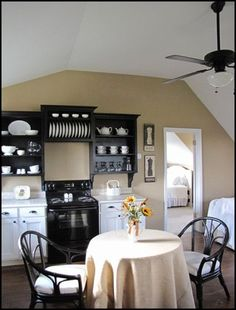 black upper cabinets