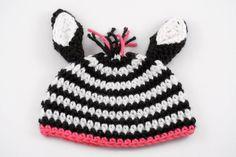 Crochet Zebra Baby Girl Hat with Pink // Baby Photo Prop // Newborn Size by lauraanncrochet