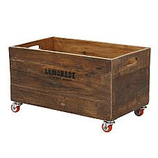 I bought a wooden box just like ths at a yard sale... looks like I'll be adding some casters to it Diy Furniture Projects, Diy Pallet Furniture, Diy Projects, Crate Storage, Storage Chest, Rolling Storage, Kids Decor, Home Decor, Cottage