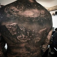 Galaxy & Mountains Back Tattoo