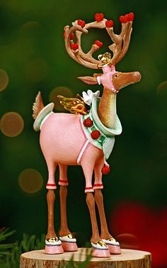 """Cupid Ornament"" Krinkles Reindeer Ornaments by Patience Brewster at Fiddlesticks Woodland Christmas, Noel Christmas, Pink Christmas, All Things Christmas, Christmas Crafts, Xmas, Reindeer Christmas, Christmas Ideas, Reindeer Decorations"