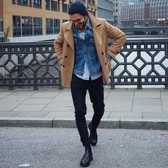 How to wear: tan pea coat, blue denim jacket, light blue long sleeve shirt, white tank Look Fashion, Winter Fashion, Blue Long Sleeve Shirt, Style Outfits, Mens Fashion Suits, Mode Inspiration, Mens Clothing Styles, Swagg, Men Casual