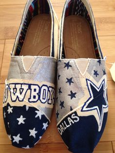 Dallas Cowboys custom shoes! Affordable prices. Shipping available!   Order a pair of shoes with your specifications Bella Lace Boutique!   www.facebook.com/bellalaceboutique.  Or www.etsy.com/shop/bellalaceboutique