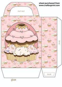 Pink cupcake gift bag on Craftsuprint designed by Stephen Poore