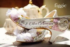 Hand-Painted Blush Pink and Gold Wedding Pumps by Figgie | info@figgieshoes.com | www.figgieshoes.com