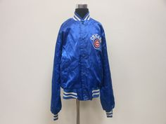 Vtg 80s 90s  Chalk Line Chicago Cubs Light Button Up Satin Jacket sz Youth L  #ChalkLine #ChicagoCubs   #tcpkickz