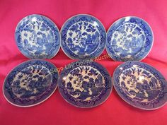 Lot # : 161 - Six Vintage Blue Willow Bread and Butter