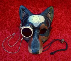 All The Better To See You With' V9... handmade mixed media steampunk wolf mask | Awesome concept by Merimask