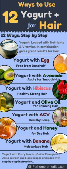 Healthy Nourished Strong Hair :12 Ways to use Yogurt Home Remedies for 1. Dry scalp 2.Dry hair 3.Healthy hair 4.Prevent Hair fall 5.Shining Hair 6.Smooth Silk Hair 7.Moisturized 8.Dandruff free 9. Hair Re-growth and more..