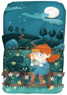 Cat and girl illustration Cool Art, Awesome Art, Stories For Kids, Children's Book Illustration, Flower Wallpaper, Childrens Books, Illustrators, Anime Art, Artsy