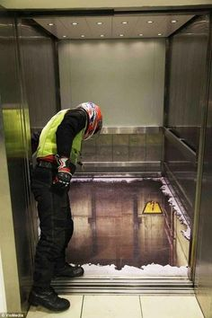 Prank painted elevator floor