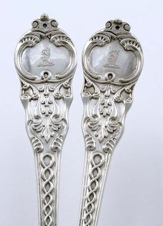 English silver two piece salad serving set in the Plantagenet pattern by Brindley Slater,