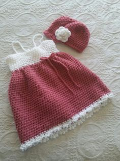 Darling crochet girl's dress and matching hat!