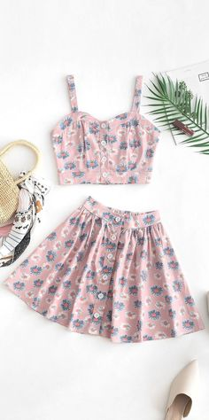 Cute two pieces summer outfit to try - Summer Dresses Teen Fashion Outfits, Outfits For Teens, Trendy Outfits, Girl Outfits, 2 Piece Outfits, Two Piece Outfit, Jugend Mode Outfits, Teenager Outfits, Cute Summer Outfits