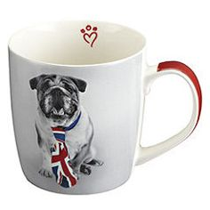 What a fabulously cute Union Jack tie wearing British bulldog mug. #cute #bulldog #mug #UK #British #Britain #jubilee
