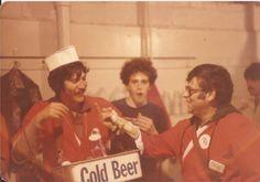 Arnold Lipski, Gary Shane & Don Gerstein in the Wrigley vendor's room. 1980.