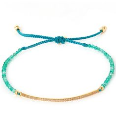 Tai Turquoise Pave Bar Beaded Friendship Bracelet ($94) ❤ liked on Polyvore featuring jewelry, bracelets, beaded friendship bracelet, knot bangle, bracelet bangle, turquoise jewelry and knot bracelet