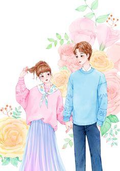Cute Couple Drawings, Cute Couple Art, Anime Love Couple, Cute Drawings, Anime Couples, Cute Couples, Disney Love Stories, Cute Walpaper, Cute Anime Coupes