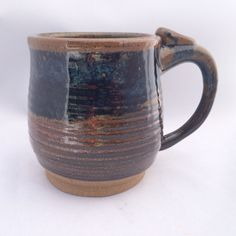 Extra-large stoneware pottery mug, brown and blue glaze, with thumb rest (16oz) - pinned by pin4etsy.com
