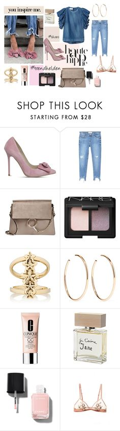 """Bow"" by trendhelden on Polyvore featuring Mode, Office, MANGO, Chloé, Haute Hippie, NARS Cosmetics, Pamela Love, Jennifer Fisher, Clinique und Bella Freud"
