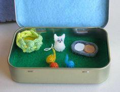 Tiny white cat felt play set in Altoid tin includes balls