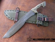 Miller Bros. Blades Jungle Sword. This model is available in Z-Wear PM, CPM 3V, CPM S35VN, Z-Tuff PM and 5160 steels Miller Bros. Blades Custom Handmade Knives, Swords & Tomahawks.
