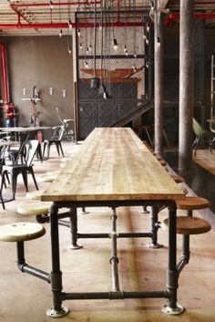Cool family table - might be fun to do this with galvanized pipes if we do a large family table