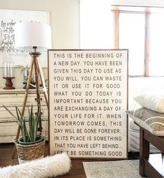 Excited to share this item from my shop: Large wall art / home decor / signs / wall decor / wall hanging / quotes to live by / this is the beginning of a new day Framed wood sign Home Decor Signs, Diy Home Decor, Hanging Quotes, Grand Art Mural, Journaling, Sign Quotes, Large Wall Art, Wall Signs, Wooden Signs