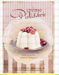 Vintage Kuchen Paris french Beeren Shabby DIN A4