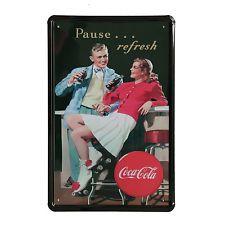Cuadro de metal impreso vintage COKE PAUSE 20x30-