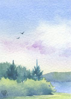 Violet and blue Original watercolor painting, one of a kind artwork. Professional watercolor paints (Winsor & Newton Artists Watercolor)