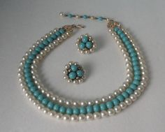 JAPAN Faux Pearls and Blue Glass 3 Strands Necklace and Earrings Set. by Cosasraras on Etsy