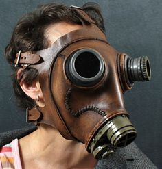 Halloween - Steampunk Gas mask No. 66 in mahogany brown leather.Are You My Mummy? Steampunk Gas Mask, Steampunk City, Steampunk Fashion, Leather Mask, Brown Leather, Mahogany Brown, Space Pirate, Headgear, Look Cool