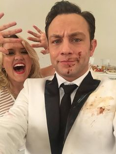 Emily Osment and Jonathan Sadowski Behind the scenes of the #YoungandHungry food fight!